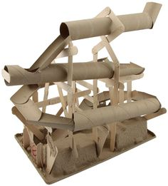Save those paper rolls (paper towels, toilet paper, wrapping paper) add a few craft sticks and let the kids go wild coming up with marble slides and other ideas.