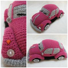 Crochet a VW Beetle Volkswagen Amigurumi - Such a Cute Bug! I always wanted one of these cars!