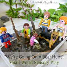 Sit back and relax as you are about to relive the most exciting bear hunt story ever, in a small world sensory play kind of way. Sensory Bins, Sensory Activities, Sensory Play, Book Activities, Best Outdoor Toys, Outdoor Toys For Kids, Free Activities For Kids, Motor Skills Activities, Preschool Ideas