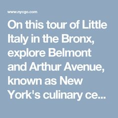 On this tour of Little Italy in the Bronx, explore Belmont and Arthur Avenue, known as New York's culinary center for authentic Italian bakeries, butcher...