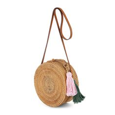 Boho Style Round Rattan Bag with Colorful Tassels and Leather Strap Handmade Design, Handmade Shop, Patent Leather Handbags, Straw Handbags, Boho Accessories, Rattan, Purses And Bags, Tassels, Bali