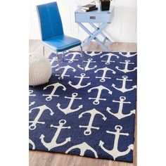 Nautical Anchors Rug Indoor Outdoor Carpet Blue White Cottage Boat Flooring #NuLoom #Nautical