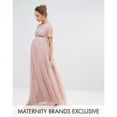 Maya Maternity Embellished Bodice Maxi Dress With Tulle Skirt ($145) ❤ liked on Polyvore featuring maternity and pink
