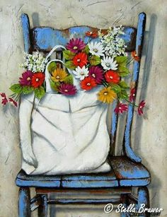 Stella Bruwer white sack of summer flowers on high back shabby blue chair Art Floral, Art And Illustration, Illustrations, Pictures To Paint, Beautiful Paintings, Painting Inspiration, Painting & Drawing, Flower Art, Watercolor Paintings