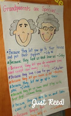 grandparents are special because anchor chart