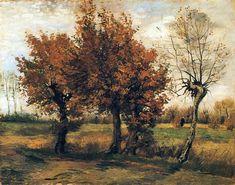Autumn Landscape with Four Trees, 1885 by Vincent van Gogh. Realism. landscape. Rijksmuseum Kröller-Müller, Otterlo, Netherlands