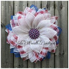 Patriotic DIY Wreath – The best ideas Burlap Flower Wreaths, Deco Mesh Wreaths, Wreath Burlap, Mesh Garland, Ribbon Wreaths, Yarn Wreaths, Fabric Wreath, Tulle Wreath, Star Garland