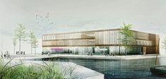 """Dreistöckig und mit Kupferlamellen: Das Stuttgarter Architektenbüro MGF hat den Architektenwettbewerb für das """"Körber-Haus gewonnen. Es soll bis Frühjahr 2020 auf dem jetzigen Gelände des Lichtwarkhauses entstehen."""