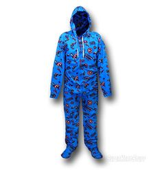 Images of Captain America Footed Hooded Pajamas