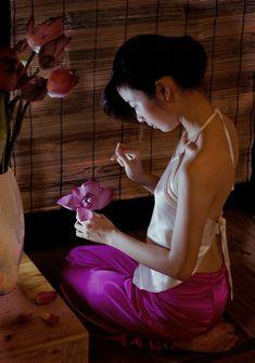 Women Head Scarf Traditional  Pinner Pink Vietnam