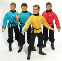 Take a walk through the history of Star Trek as represented by the action figures that accompanied each series Star Trek Toys, Star Trek Action Figures, Star Wars, Retro Toys, Vintage Toys, 1970s Toys, Gi Joe, Childhood Toys, Childhood Memories