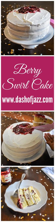 Three-layer, fluffy vanilla cake swirled with lingonberry jam and frosted with buttercream! Super easy to make and delicious to boot. Get the recipe from Dash of Jazz