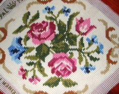Vintage embroidery with roses for framing Embroidered floral