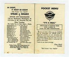 Steak and Shake Pocket Menu 1950s Its A Meal