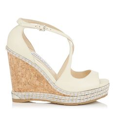 5c7172a18e6 JIMMY CHOO Dakota 120 Off White Wedge With Tonal Metallic Raffia.  jimmychoo   shoes