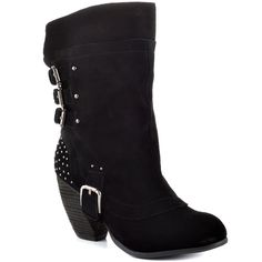Naughty Monkey - World Wide  Price: $120  Buckle up for a wild ride in the World Wide. This Naughty Monkey boot features a lavish black suede with edgy buckles and studs for biker chic look. An 8 1/2 inch shaft height and a stacked 3 inch heel finishes off this hot boot.