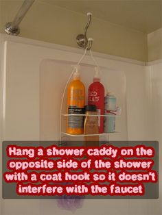 Hanging shower caddy  in bathroom