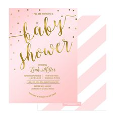 Rose Quartz (Pink) and Gold confetti Girl Baby Shower invitation