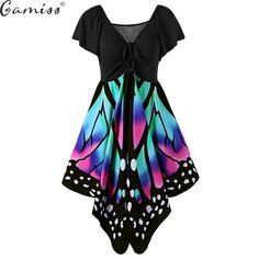 Hot Butterfly Shape Women Fashion Dress Plus Size 5XL V Neck Novelty Female  Party Dresses Vestido 02c51742f66c