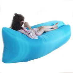Portable Camping Lounger Sofa Inflatable Sleeping Bag Beach Hangout Lazy Air Bed Blue -- Click image to review more details. (This is an affiliate link) #SleepingBagsandCampBedding