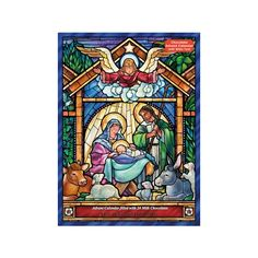 Stained Glass Nativity Advent Calendar with Chocolate: Count down to Christmas with this chocolate Advent calendar! It features a beautiful nativity scene in a stained glass window pattern. Prepare for Christmas by opening a window each day during Advent. Upon opening each window, find a chocolate square and biblical text that tells a part of the Nativity story. A wonderful Advent calendar for children.
