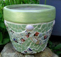Mosaic Flower Pots | Sweet Cherub Draped Mosaic Flower Pot by Cher at by moosaics, $27.00