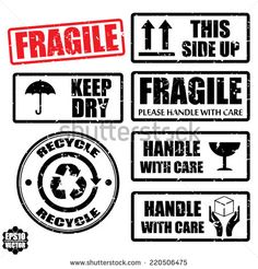 Set of fragile sticker handle with care and case icon packaging symbols sign, keep dry, do not litter and this side up rubber stamp on white background, vector illustration Box Design, Design Case, Music Instruments Diy, Stencils, Royalty Free Images, Royalty Free Stock Photos, Diy Phone Case, Aesthetic Stickers, Printing Labels