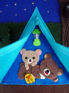 CAMPING PAGE - TENT, BEARS, CHICKEN, LANTERN