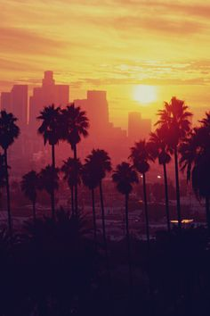 Sunset at Los Angels,Yellow Skyline of Los Angels City of California.   RePinned by : www.powercouplelife.com