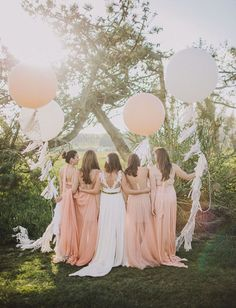 peach bridesmaid dresses with coral giant ballons