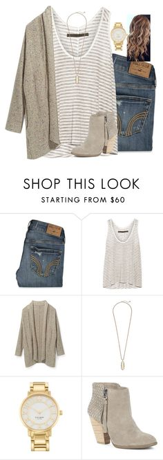 """""""...call back the sinner, wake up the saint. {love this song}"""" by madelynprice ❤ liked on Polyvore featuring Hollister Co., Enza Costa, Rebecca Minkoff, Kendra Scott, Kate Spade and Sole Society"""