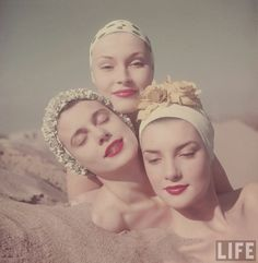 vintage everyday: 1950s Bathing Suit Caps and Beach Fashion in California