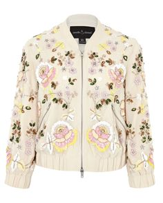 Needle & Thread | Green Light Pink Foliage Clustered Sequin Bomber Jacket | Lyst