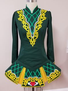 Irish dance team dress. Irish dance school dress by Prime Dress Designs. Scoil Rince Mahoney
