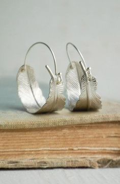 Silver FEATHER Hoop EARRINGS Woodland Nature