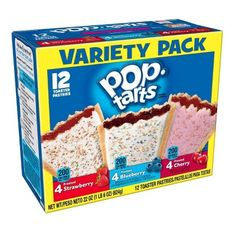 Kellogg's Pop-Tarts Frosted Toaster Pastries Variety Pack, Frosted Cherry, Blueberry and Strawberry, 12 Count Blueberry Frosting, Strawberry Frosting, Strawberry Blueberry, Pink Frosting, Blueberry Breakfast, Pop Tarts, Pop Tart Flavors, Gourmet Recipes, Snack Recipes