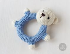 Teddy Bear Baby Rattle  Clutch Toy  PDF Crochet от TillySome