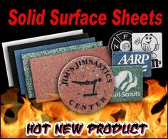 """Solid Surface Sheets is the newest product line from LaserBits. You can engrave or cut this 1/8"""" material and create key chains, cutting boards, plaque plates, jewelry, coasters and so much more.     For more information, please visit: http://www.laserbits.com/index.php?main_page=index=159_784"""