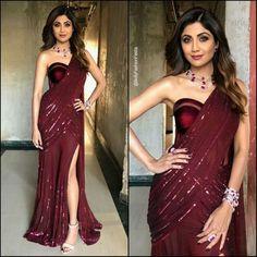 overall outfit casual Saree Gown, Sari Dress, Lehenga Blouse, Saree Designs Party Wear, Saree Blouse Designs, Saree Draping Styles, Saree Styles, Indian Bridal Outfits, Indian Dresses