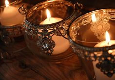 Crystal Hanging Candle Holders Glass & Silver (3 holders/set )