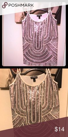 Pink and silver sequins with beading on white tank Spaghetti strap white tank with pink and silver sequins and white beading. Great condition. Express Tops Tank Tops