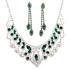 Imperial Emerald Necklace & Earring Set - handcrafted with emerald and classic clear crystals Swarovski Elements