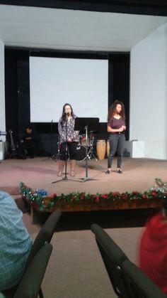 Reyna & Aliya sing during New Year's talent show.