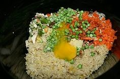"Crock Pot Fried"" Rice. Throw it all in and cook for 2 hours. (Very flexible recipe, use brown rice and tons of veggies)"