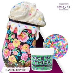 Does your art ever look good enough to eat? Artist Danielle Myers created this lovely tumbler with CCDIY Nice N' Thick which is the perfect product for creating that tasty looking icing effect! We also carry toppings and sprinkles that are made to compliment your resin artwork. Check out our products today at counterculturediy.com #nicenthick #3dart #icingeffect #tastyart #customtumbler #tumblerartist #sprinkles #resinart #epoxy #tumblerart #artsupplies #tumblerdesigns