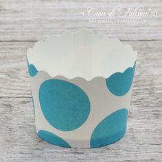 Cupcake Cup Big Dots türkis: Fröhlich gepunktete Cupcake Cup bzw. Cupcake Wrapper für selbstgebackene Leckereien zum Kindergeburtstag, für Sommerfeste und einfach für ...