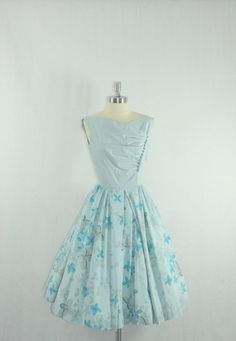 1950's Vintage Dress - Blue Cotton with Novelty Print Full Skirt Garden Party Dress