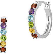 Lord & Taylor Multi-Gemstone, Semi-Precious and Sterling Silver Huggie Hoop Earrings, 0.7in