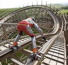 "Extreme in-line skater Dirk Auer on ""Mammut"" roller coaster at Erlebnispark Tripsdrill, Cleebronn, Germany"