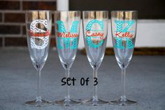 Set of 3 Champagne Flutes  Chevron Monogram with by MileHighGifts, $30.00